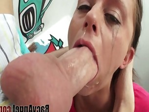 interracial,blowjob,brunette,deepthroat,ebony